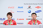 (L-R) Ami Kondo, Naohisa Takato (JPN), <br /> AUGUST 7, 2016 : <br /> Bronze Medalist Ami Kondo, Naohisa Takato and Hiromi Miyaka of Japan<br /> during the Press Conference <br /> for the Rio 2016 Olympic Games<br /> at the Japan House in Rio de Janeiro, Brazil. <br /> (Photo by AFLO SPORT)
