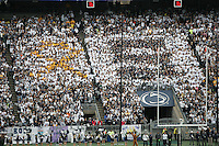 State College, PA - 11/02/2013:  The gold ribbon block for THON is visible next to the &quot;S&quot; block in the PSU student section.  Penn State defeated Illinois by a score of 24-17 in overtime on Saturday, November 2, 2013, at Beaver Stadium.<br /> <br /> Photos by Joe Rokita / JoeRokita.com