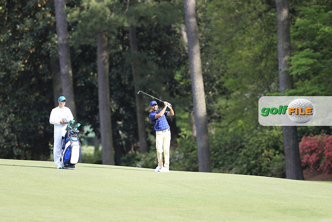 Jason Day (AUS) on the 13th during the 1st round at the The Masters , Augusta National, Augusta, Georgia, USA. 11/04/2019.<br /> Picture Fran Caffrey / Golffile.ie<br /> <br /> All photo usage must carry mandatory copyright credit (© Golffile | Fran Caffrey)