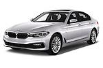2017 BMW 5-Series Sport 4 Door Sedan Angular Front stock photos of front three quarter view