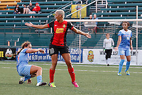 Rochester, NY - Friday July 01, 2016: Western New York Flash midfielder Lianne Sanderson (10), Chicago Red Stars midfielder Danielle Colaprico (24) during a regular season National Women's Soccer League (NWSL) match between the Western New York Flash and the Chicago Red Stars at Rochester Rhinos Stadium.