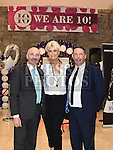 Lisa Fitzpatrick pictured with outgoing centre manager Ken Fox and his successor Dan Mitchell at the 10th birthday celebrations in Scotch hall shopping centre. Photo:Colin Bell/pressphotos.ie