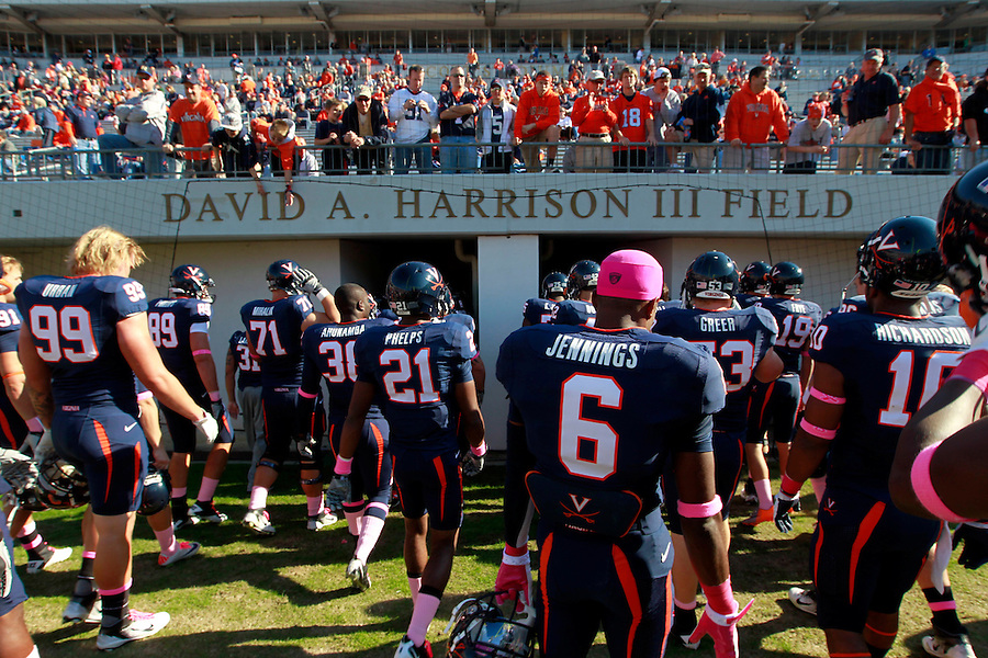 Oct. 22, 2011 - Charlottesville, Virginia - USA; Virginia Cavaliers players leave the field during an NCAA football game against the North Carolina State Wolfpack at the Scott Stadium. NC State defeated Virginia 28-14. (Credit Image: © Andrew Shurtleff/