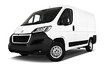 Stock pictures of low aggressive front three quarter view of a 2018 Peugeot Boxer Pro 5 Door Cargo Van