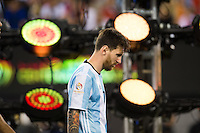 Photo during the awards ceremony after the match Argentina vs Chile, Corresponding to Great Final of the America Centenary Cup 2016 at Metlife Stadium, East Rutherford, New Jersey.<br /> <br /> <br /> Foto durante el festejo  despues del partido Argentina vs Chile, correspondiente a la Gran Final de la Copa America Centenario 2016 en el  Metlife Stadium, East Rutherford, Nueva Jersey, en la foto: Lionel Messi<br /> <br /> <br /> 26/06/2016/MEXSPORT/Jorge Martinez.