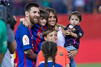 Leo Messi, Antonella Roccuzzo  and his son, Thiago and Mateo Messi during the match of  Copa del Rey (King's Cup) Final between Deportivo Alaves and FC Barcelona at Vicente Calderon Stadium in Madrid, May 27, 2017. Spain.. (ALTERPHOTOS/Rodrigo Jimenez) /NortePhoto.com