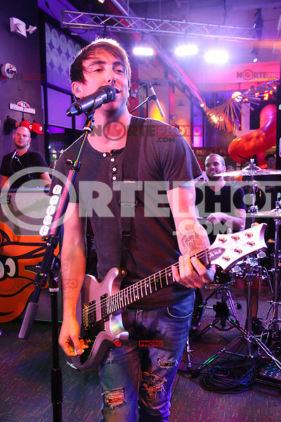NEW YORK, NY - SEPTEMBER 26:  Alex Gaskarth of All Time Low performing live at the MLB Fan Cave  in New York City. September 26, 2012. © Diego Corredor/MediaPunch Inc. /NortePhoto.com