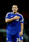 John Terry of Chelsea thumps his club crest on his chest - English Premier League - Manchester Utd vs Chelsea - Old Trafford Stadium - Manchester - England - 28th December 2015 - Picture Simon Bellis/Sportimage