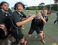 Action from bronze final of the 2017 Hurricanes Secondary Schools Under-15 Girls' Rugby Tournament between St Mary's College and Sacred Heart College at Wakefield Park in Wellington, New Zealand on Tuesday, 5 September 2017. Photo: Dave Lintott / lintottphoto.co.nz