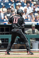 Louisville Cardinals third baseman Alex Binelas (13) at bat during Game 3 of the NCAA College World Series against the Vanderbilt Commodores on June 16, 2019 at TD Ameritrade Park in Omaha, Nebraska. Vanderbilt defeated Louisville 3-1. (Andrew Woolley/Four Seam Images)
