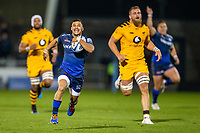 8th November 2019; AJ Bell Stadium, Salford, Lancashire, England; English Premiership Rugby, Sale Sharks versus Coventry Wasps; Embrose Papier of Sale Sharks runs in open field with the ball - Editorial Use
