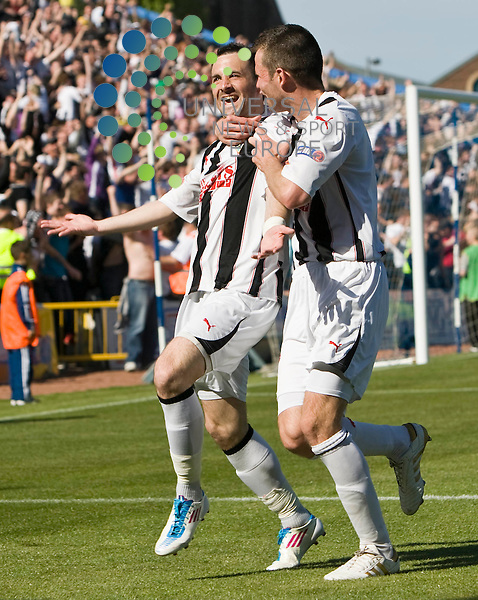 David Graham celebrates scoring the second goal for Dunfermline with team mate Andy Dowie during The Irn-Bru First Division match between Morton and Dunfermline  30/04/11 ..Picture by Ricky Rae/universal News & Sport (Scotland).