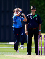 Natasha Farrant bowls for Kent during the Women's Royal London County Championship game between Kent ladies and Lancashire ladies at the County Ground, Beckenham, on May 7, 2018