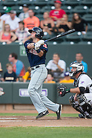 Jordan Betts (41) of the Salem Red Sox follows through on his swing against the Winston-Salem Dash at BB&T Ballpark on June 18, 2015 in Winston-Salem, North Carolina.  The Red Sox defeated the Dash 8-2.  (Brian Westerholt/Four Seam Images)