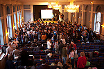 The crowd fills the room at the Conference of Youth, COP 15, Denmark (©Robert vanWaarden
