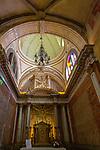 Ornately decorated interior of the  17th century church of Igreja de Santiago, Tavira, Algarve, Portugal, Southern Europe