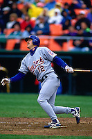 SAN FRANCISCO, CA - Jeff Kent of the New York Mets bats against the San Francisco Giants during a game at Candlestick Park in San Francisco, California in 1994. Photo by Brad Mangin