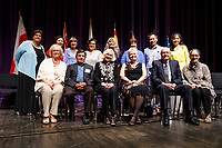 Members of the USA International Harp Competition Board of Directors pose for a group photo after the awards ceremony of the 11th USA International Harp Competition at Indiana University in Bloomington, Indiana on Saturday, July 13, 2019. Pictured front row from left are: Linda Wood Rollo, Dr. F. David Rollo, Susann McDonald, Nancy Jones Miller, Clarence D. Miller and Joyce E. Claflin. Pictured second row from left are: Debra Pekin, Jung Kwak, Joan Ferguson, Wendy Muston, Joyce Brower, Beatrice Carlyss, Charles Lin and Heaven Hui-Wen Fan. (Photo by James Brosher)