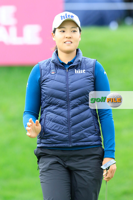 In Gee Chun (KOR) takes her putt on the 18th green during Saturday's Round 3 of The 2016 Evian Championship held at Evian Resort Golf Club, Evian-les-Bains, France. 17th September 2016.<br /> Picture: Eoin Clarke | Golffile<br /> <br /> <br /> All photos usage must carry mandatory copyright credit (&copy; Golffile | Eoin Clarke)