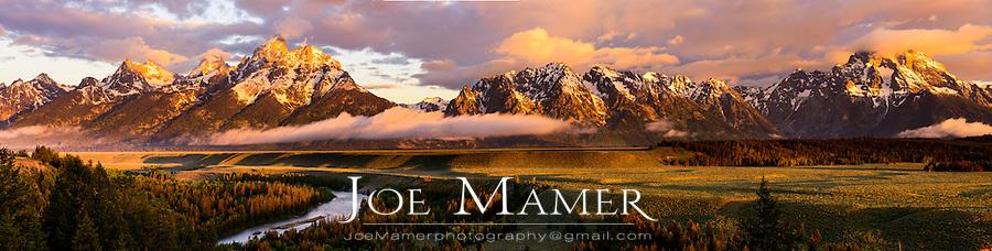 Teton Range from the Snake River Overlook in Grand Teton National Park at sunrise.
