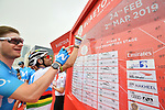 World Champion Alejandro Valverde (ESP) and Movistar Team sign on before the start of Stage 6 of the 2019 UAE Tour, running 175km form Ajman to Jebel Jais, Dubai, United Arab Emirates. 1st March 2019.<br /> Picture: LaPresse/Massimo Paolone | Cyclefile<br /> <br /> <br /> All photos usage must carry mandatory copyright credit (© Cyclefile | LaPresse/Massimo Paolone)