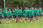 30.06.2020, Trainingsgelaende am wohninvest WESERSTADION,, Bremen, GER, 1.FBL, Werder Bremen Training, im Bild<br /> <br /> <br /> Aufwaermtraining am Dienstag nachmittag auf Platz 4 / 5<br /> <br /> <br /> Kevin Vogt (Werder Bremen  #03)<br /> Simon Straudi (Werder Bremen #26)<br /> Benjamin Goller (Werder Bremen #39)<br /> Niclas Füllkrug / Fuellkrug (Werder Bremen #11)<br /> Davie Selke  (SV Werder Bremen #09)<br /> Claudio Pizarro (Werder Bremen #14)<br /> Milot Rashica (Werder Bremen #07)<br /> Davie Selke  (SV Werder Bremen #09)<br /> Yuya Osako (Werder Bremen #08)<br /> Foto © nordphoto / Kokenge