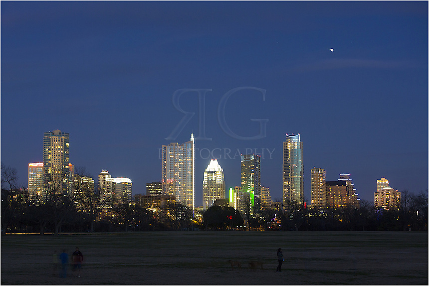 A crisp January evening is a great time to talk a walk around Zilker Park and enjoy the stunning view of the Austin skyline. From this view, you can see the Springs Condominiums, the 360 Condominiums, the Frost Tower, and the Austonian, as well as other Austin high rises.
