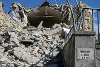 Torrita, Amatrice, 26 Agosto 2016.<br /> Chiesa crollata a Torrita, frazione di Amatrice. <br /> L'Italia &egrave; stata colpita da un potente, terremoto di 6,2 magnitudo nella notte del 24 agosto, 2016, che ha ucciso almeno 290 persone .<br /> Collapsed Church in Torrita, a hamlet of Amatrice , earthquake in central Italy was struck by a powerful, 6.2-magnitude earthquake in the night of August 24, 2016, Which has killed at least 290 people and devastated hundreds of houses.