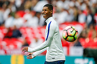 Marcus Rashford (Manchester United) of England warms up ahead of the FIFA World Cup qualifying match between England and Malta at Wembley Stadium, London, England on 8 October 2016. Photo by David Horn / PRiME Media Images.