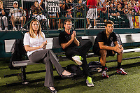 Portland Thorns head coach Cindy Parlow Cone with assistant coach John Galas, and goalkeeping coach Nate Berry. The Portland Thorns defeated the Western New York Flash 2-0 during the National Women's Soccer League (NWSL) finals at Sahlen's Stadium in Rochester, NY, on August 31, 2013.