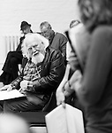 """King Lear"" rehearsed reading rehearsals. Old Vic Theatre. Director: Jonathan Miller. Joss Ackland."