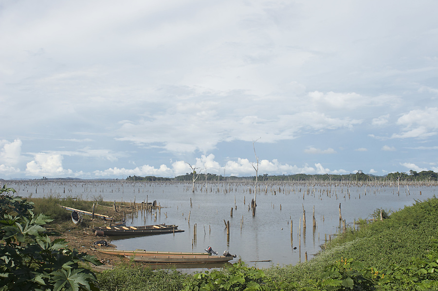 The Brokopondo reservoir in the interior of Suriname as seen from the Maroon village of Lebidoti.  The man-made lake was hastily created by flooding a vast acreage of jungle without any prior logging and evacuation of animals and is reputed to be polluted by mercury from unregulated gold mining..