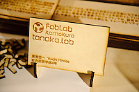 A wooden business card made at FabLab, Kamakura, Kanagawa Pref, Japan, December 9, 2011.