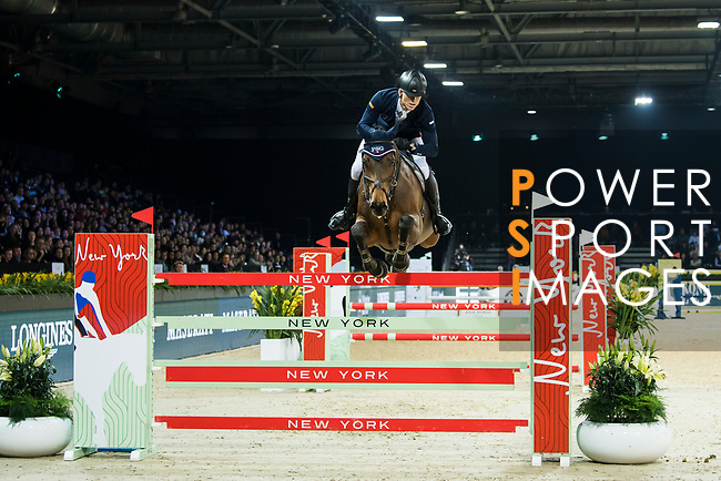 Max Kuhner of Austria riding PSG Future competes in the Longines Speed Challenge during the Longines Masters of Hong Kong at AsiaWorld-Expo on 10 February 2018, in Hong Kong, Hong Kong. Photo by Diego Gonzalez / Power Sport Images