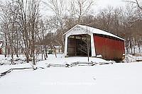 63904-03309 Beeson Covered Bridge at Billie Creek Village in winter, Rockville, IN