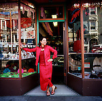 Casa Bonampak is a shop in the heart of the Mission's Latin district specializing in Fair Trade items and socially responsible gifts.  Owner Nancy Charraga stands outside her storefront on 24th Street.