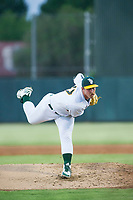 Oakland A's pitcher Daniel Mengden (47) follows through on a pitch during a rehab start for the AZL Athletics against the AZL Dodgers on August 4, 2017 at Lew Wolff Training Complex in Mesa, Arizona. AZL Dodgers defeated the AZL Athletics 4-1. (Zachary Lucy/Four Seam Images)