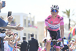 Race leader Bob Jungels (LUX) Quick-Step Floors arrives at sign on before the start of Stage 8 of the 100th edition of the Giro d'Italia 2017, running 189km from Molfetta to Peschici, Italy. 1th May 2017.<br /> Picture: LaPresse/Fabio Ferrari | Cyclefile<br /> <br /> <br /> All photos usage must carry mandatory copyright credit (&copy; Cyclefile | LaPresse/Fabio Ferrari)