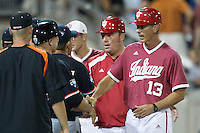 Indiana Hoosiers head coach Tracy Smith after Game 9 of the 2013 Men's College World Series against the Oregon State Beavers on June 19, 2013 at TD Ameritrade Park in Omaha, Nebraska. The Beavers defeated the Hoosiers 1-0, eliminating Indiana from the tournament. (Andrew Woolley/Four Seam Images)
