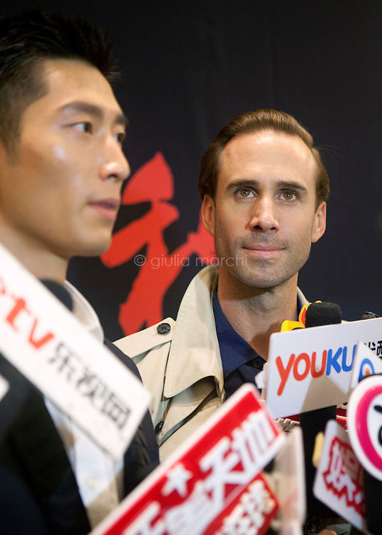 British actor Joseph Fiennes along with Chinese-Canadian actor Shawn Dou during the announcement of plans for the film The Last Race at Ritz-Carlton in Tianjin, China.