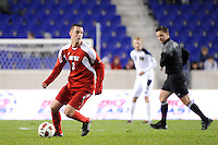 Paolo DelPiccolo (3) of the Louisville Cardinals. The Louisville Cardinals defeated the Notre Dame Fighting Irish 1-0 during the semi-finals of the Big East Men's Soccer Championship at Red Bull Arena in Harrison, NJ, on November 12, 2010.