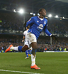 Romelu Lukaku of Everton celebrates scoring the opening goal during the Emirates FA Cup match at Anfield. Photo credit should read: Philip Oldham/Sportimage