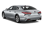 Car pictures of rear three quarter view of a 2018 Lexus LS 500h 4 Door Sedan angular rear