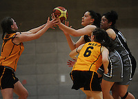 Action from the 2014 College Sport Wellington senior girls' Basketball Championship final between the Wellington Girls' College and Hutt Valley High School at Te Rauparaha Arena, Porirua, Wellington, New Zealand on Thursrday, 28 August 2014. Photo: Dave Lintott / lintottphoto.co.nz