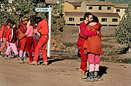 Wasco, Oregon, January 1984: Disciples of Bhagwan Rajneesh express openly their mutual love to one another.  Rajneeshpuram, was an intentional community in Wasco County, Oregon, briefly incorporated as a city in the 1980s, which was populated with followers of the spiritual teacher Osho, then known as Bhagwan Shree Rajneesh. The community was developed by turning a ranch from an empty rural property into a city complete with typical urban infrastructure, with population of about 7000 followers.