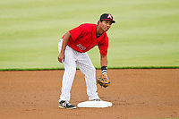 Kannapolis Intimidators second baseman Cleuluis Rondon (13) on defense against the Delmarva Shorebirds at CMC-Northeast Stadium on August 8, 2013 in Kannapolis, North Carolina.  The Shorebirds defeated the Intimidators 4-3.  (Brian Westerholt/Four Seam Images)