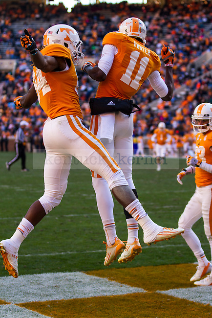 (Left to Right) Tennessee's Cordarrelle Patterson and Justin Hunter  celebrate another Volunteer touchdown in Knoxville, Tn., on Saturday, November, 24, 2012. Photo by James Holt | Staff