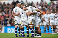 The Bath Rugby forwards huddle together during a break in play. Aviva Premiership match, between Leicester Tigers and Bath Rugby on September 3, 2017 at Welford Road in Leicester, England. Photo by: Patrick Khachfe / Onside Images
