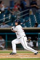 Nolan Fontana #5 of the Lancaster JetHawks bats against the Bakersfield Blaze at The Hanger on July 2, 2013 in Adelanto, California. Lancaster defeated Bakersfield, 12-1. (Larry Goren/Four Seam Images)