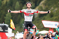 ESPAÑA, 01-09-2019: Tadej Pogacar (SLO - UAE Team Emirates) celebra después de ganar la etapa 9, hoy, 01 de septiembre de 2019, que se corrió entre Andorra la Vella y Cortals d'Encamp con una distancia de 94,4 km como parte de La Vuelta a España 2019 que se disputa entre el 24/08 y el 15/09/2019 en territorio español. / Tadej Pogacar (SLO - UAE Team Emirates) celebrates after winning stage 9 today, September 01, 2019, from Andorra la Vella to Cortals d'Encamp with a distance of 94,4 km as part of Tour of Spain 2019 which takes place between 08/24 and 09/15/2019 in Spain.  Photo: VizzorImage / Luis Angel Gomez / ASO<br /> VizzorImage PROVIDES THE ACCESS TO THIS PHOTOGRAPH ONLY AS A PRESS AND EDITORIAL SERVICE AND NOT IS THE OWNER OF COPYRIGHT; ANOTHER USE HAVE ADDITIONAL PERMITS AND IS  REPONSABILITY OF THE END USER